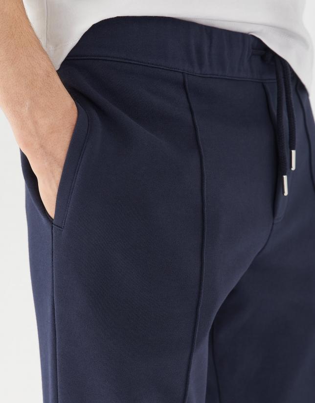Navy blue plush cotton jogging pants