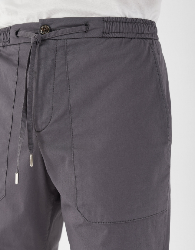 Gray cotton pants with drawstring