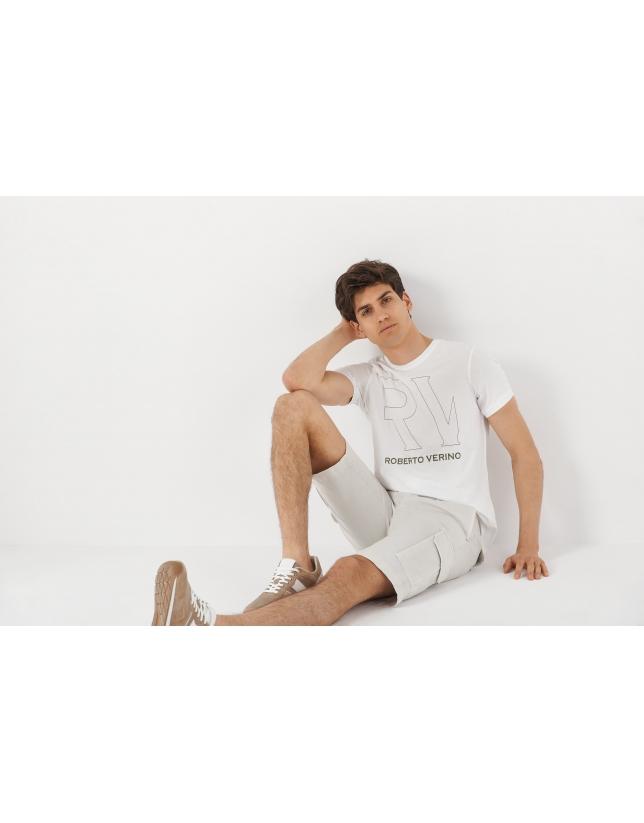 Natural color cargo bermuda pants