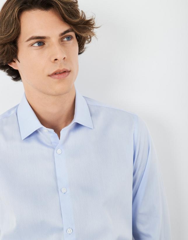 Camisa vestir algodón tipo canutillo celeste