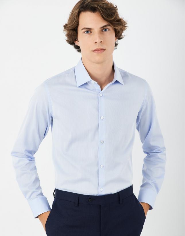 Light blue dress pique-type cotton shirt
