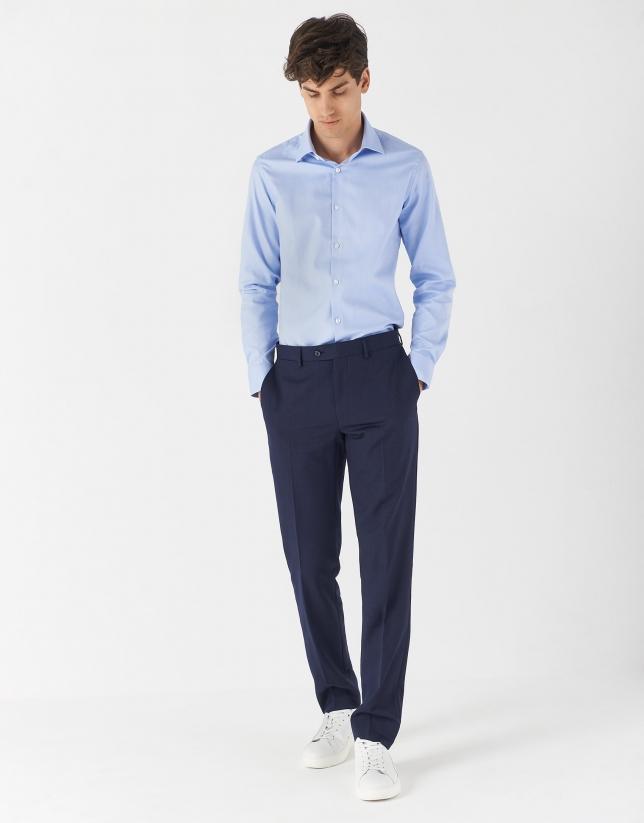 Camisa vestir algodón celeste