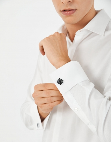 White diamond micro-print cotton shirt