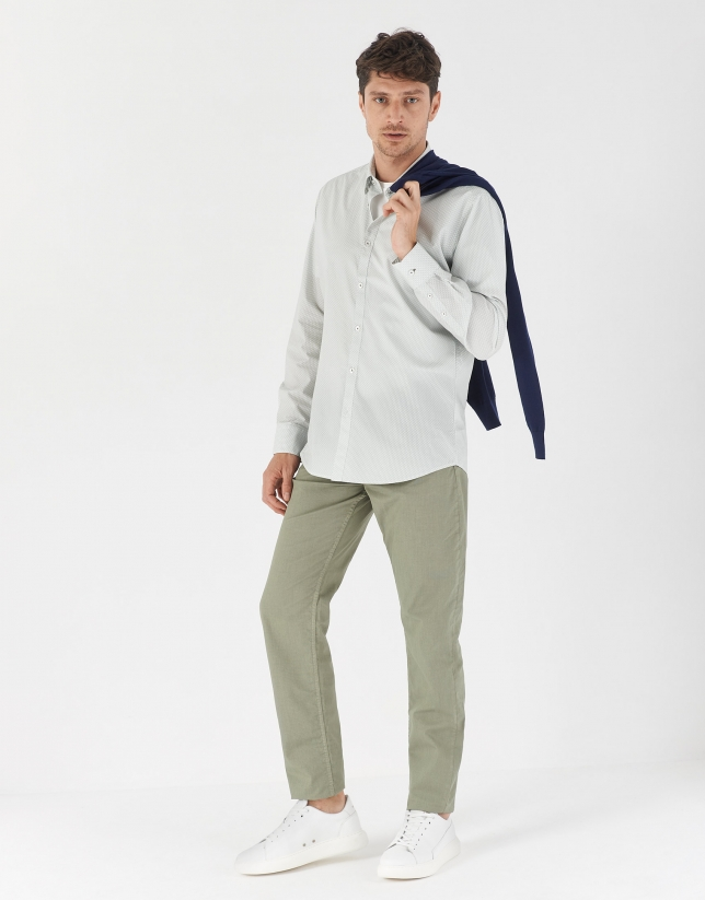 Green geometric print sport shirt