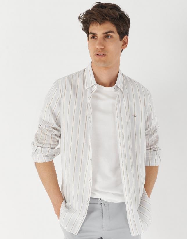 Camel striped cotton and linen sport shirt