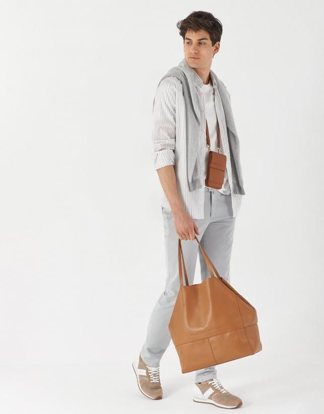 Camisa sport algodón/lino rayas cámel