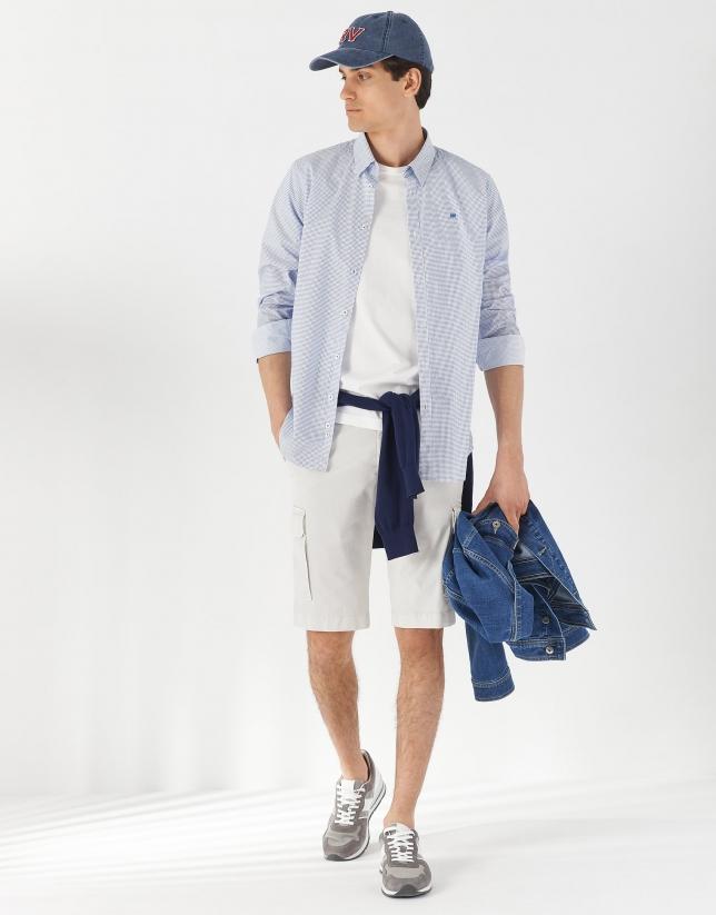 Deep blue geometric print sport shirt