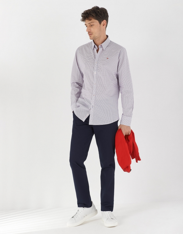 Deep blue and red geometric print sport shirt
