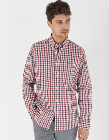 Red/blue/white checked sport shirt