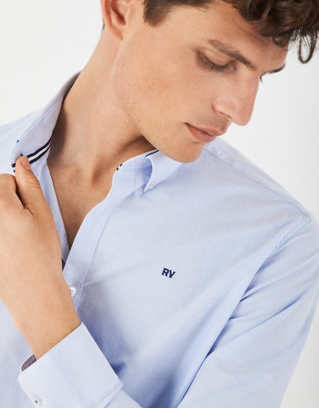 Camisa sport algodón Oxford celeste