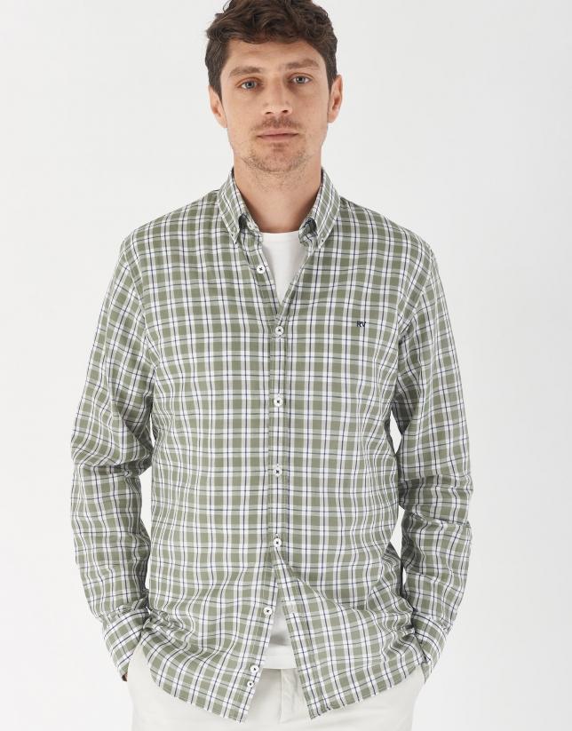 Khaki checked cotton and linen sport shirt