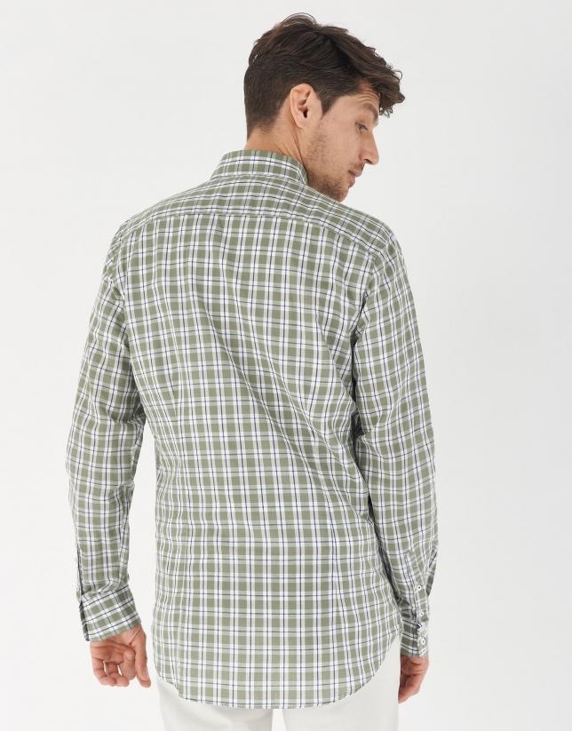 Camisa sport algodón/lino cuadros caqui