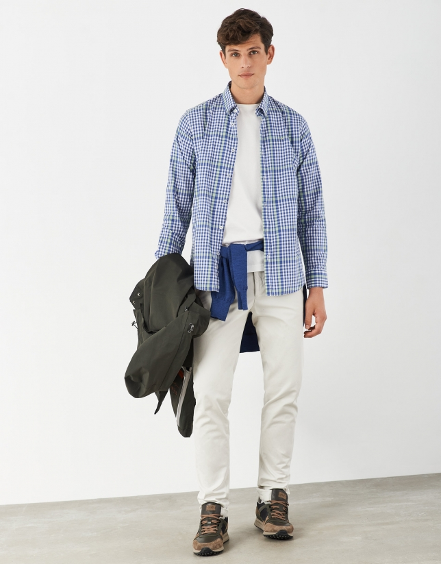 Blue and green checked cotton sport shirt