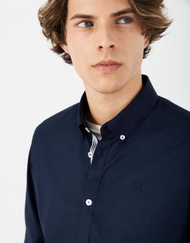 Navy blue poplin sport shirt