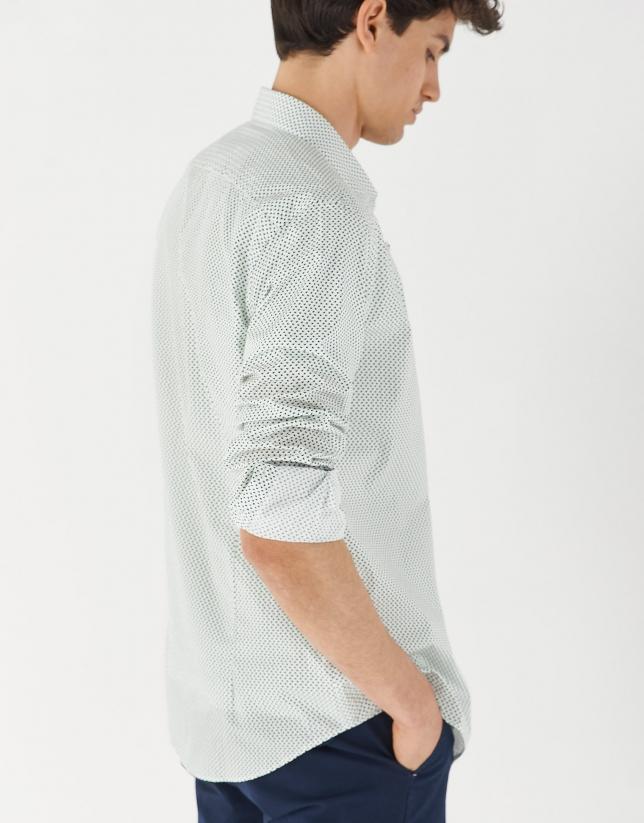 Green/navy blue geometric print sport shirt