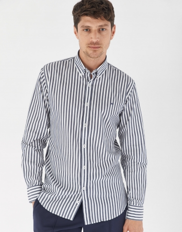 Navy blue and whote striped sport shirt