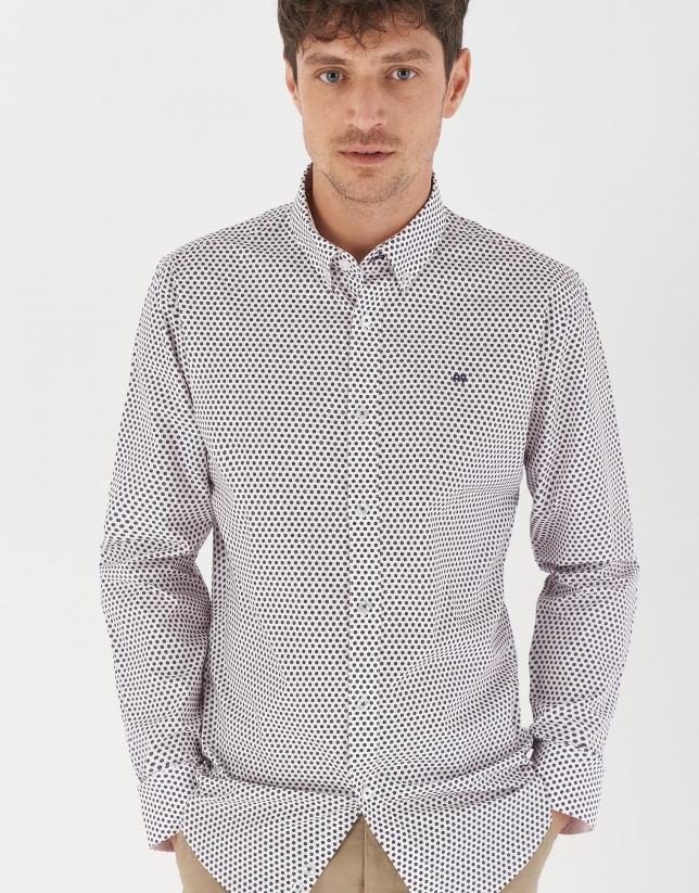 Camisa sport estampado geométrico marino/rosa claro