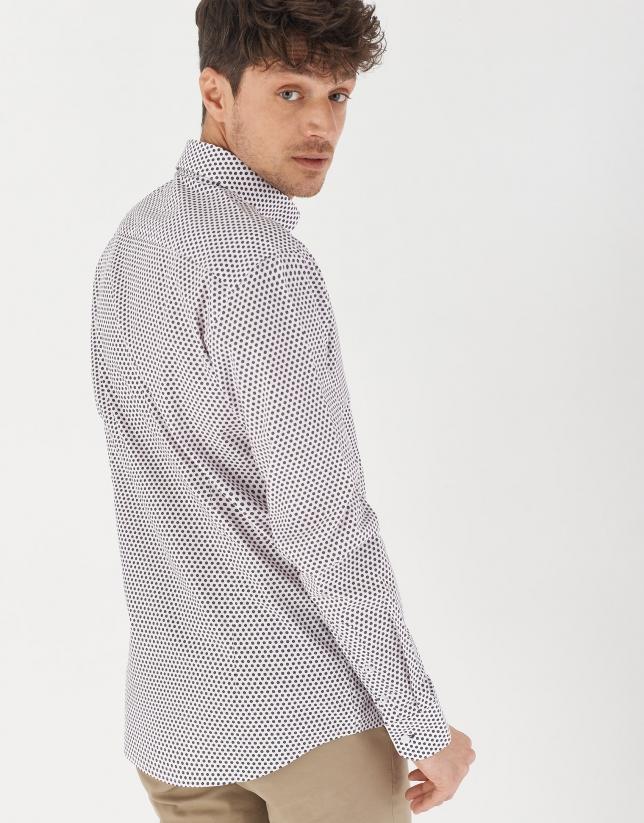 Navy/light pink geometric print sport shirt