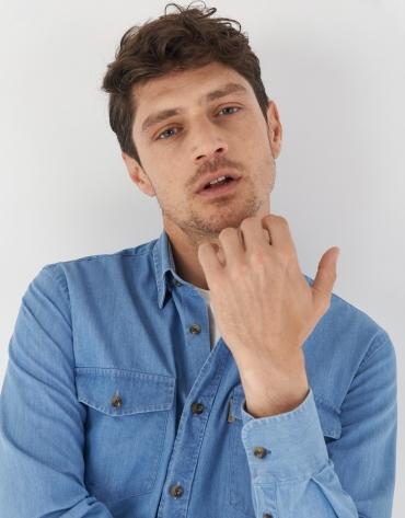 Light blue faded denim shirt