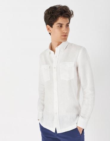 Camisa bolsillos lino blanco