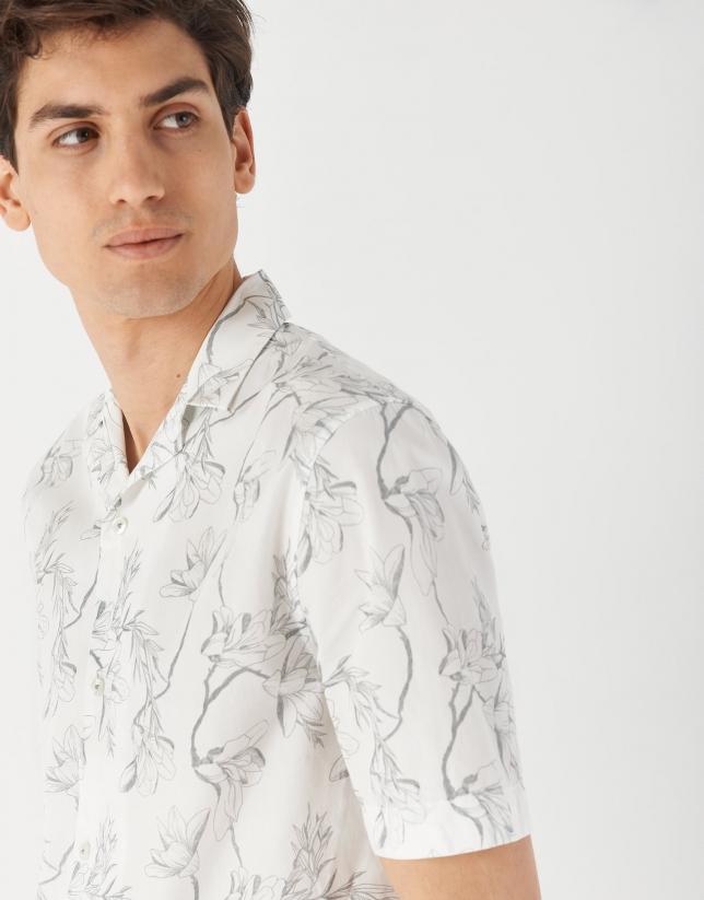 Gray tropical print Guayabera-type sport shirt