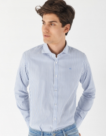 Blue kodak striped sport regular fit shirt