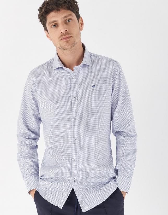 Ink blue color checked sport regular fit shirt