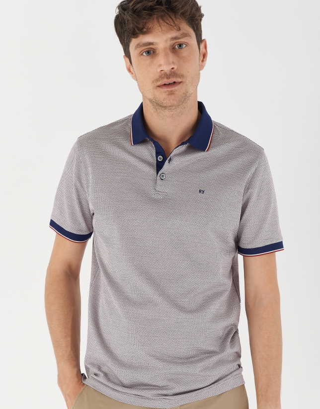 Navy blue, red and white mercerized jacquard polo