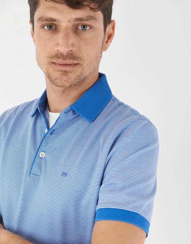 Blue and white jacquard polo shirt