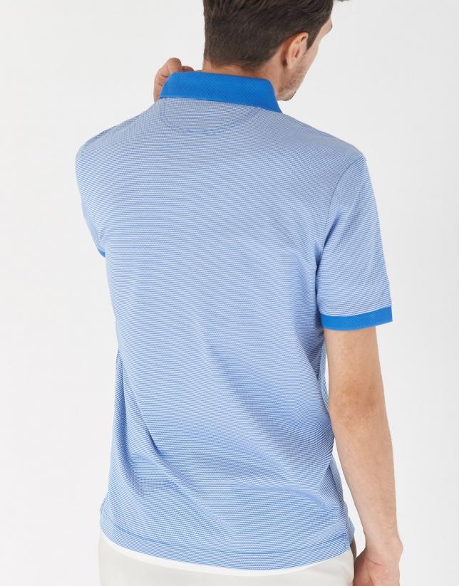 Polo jacquard mercerizado azul medio/blanco