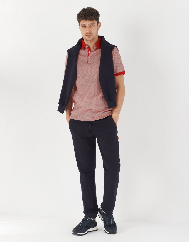Red and white jacquard polo shirt