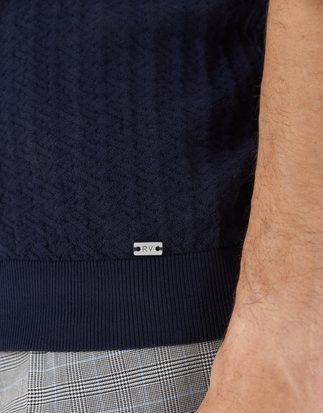 Navy blue cotton knit polo shirt