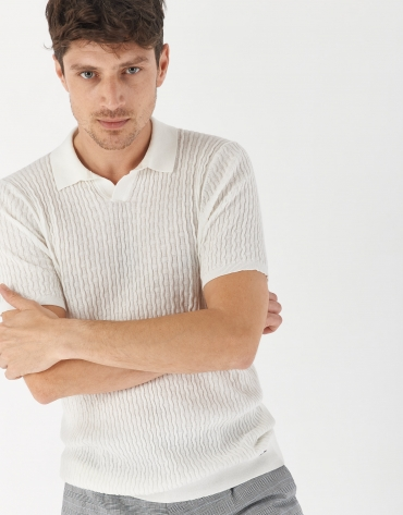 White cotton knit polo shirt