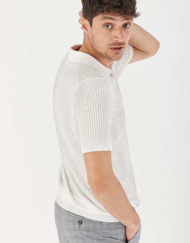 White cotton knit polo shirt