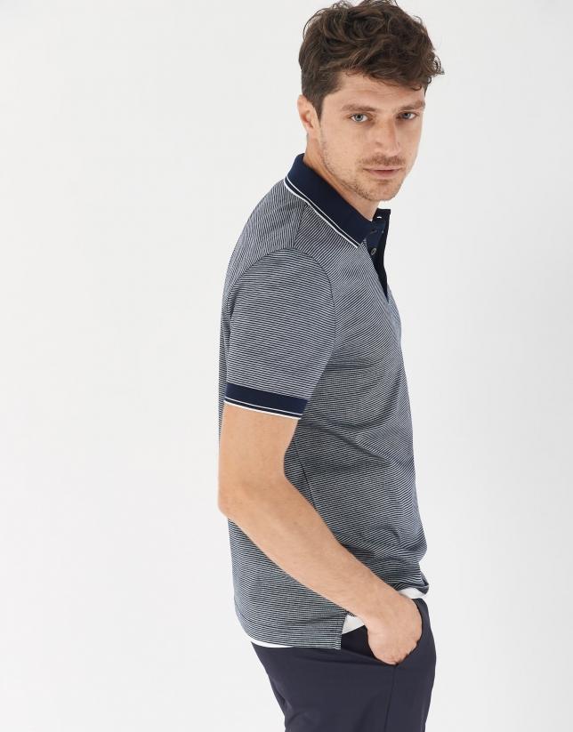 Navy blue pinstripe mercerized cotton polo shirt