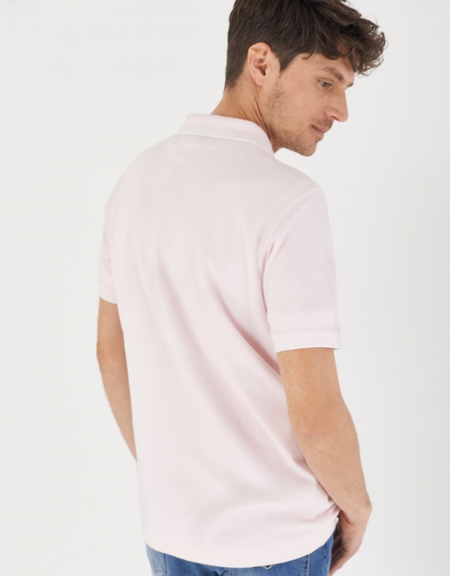 Pink pique cotton polo shirt with white outlines