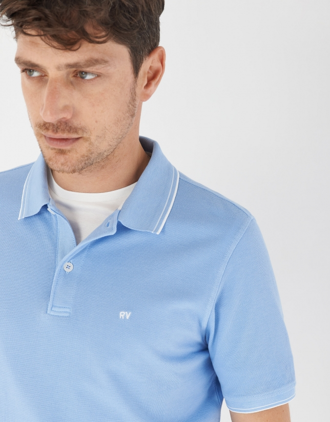 Blue pique cotton polo shirt with white outlines