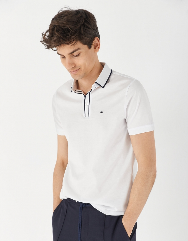 White mercerized cotton polo shirt with contrasting navy blue jacquard