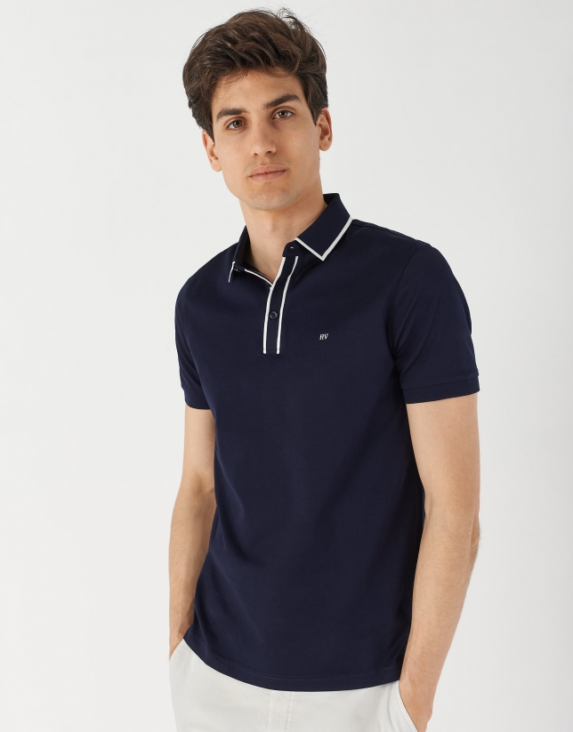 Navy blue mercerized cotton polo shirt with contrasting wite jacquard
