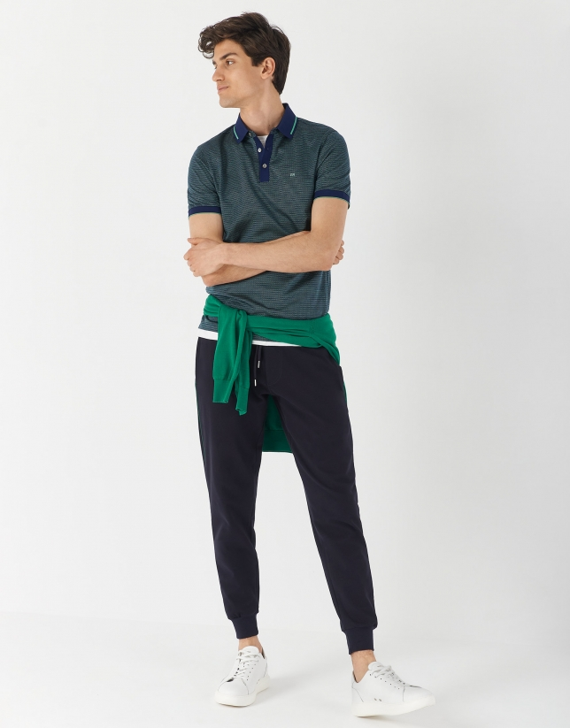 Green and white mercerized cotton and jacquard polo shirt