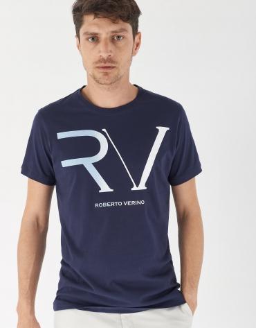 Camiseta algodón marino logo RV celeste