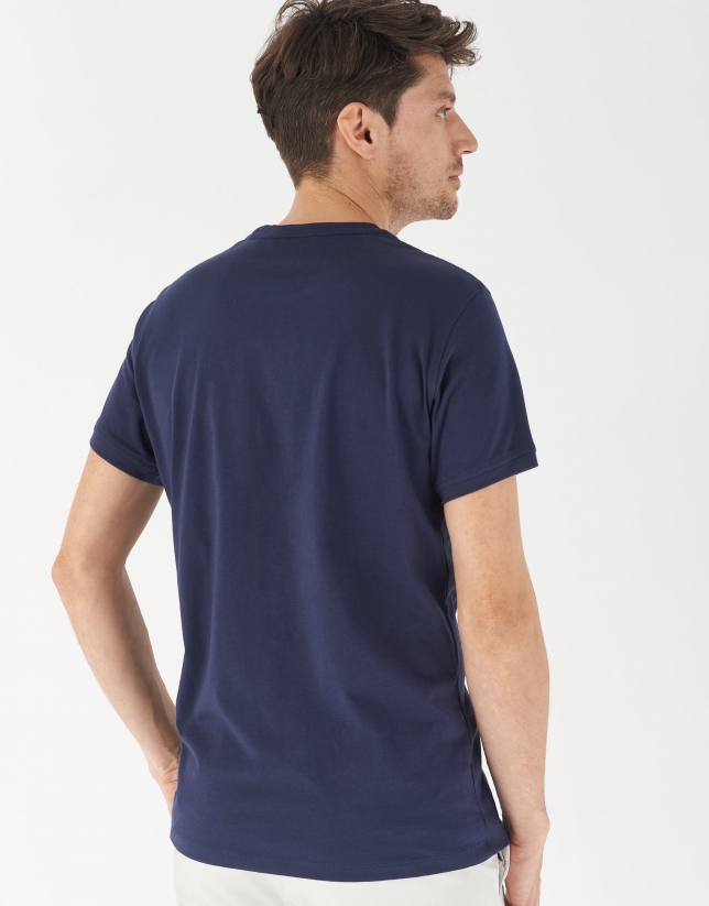 Navy blue cotton top with light blue RV logo