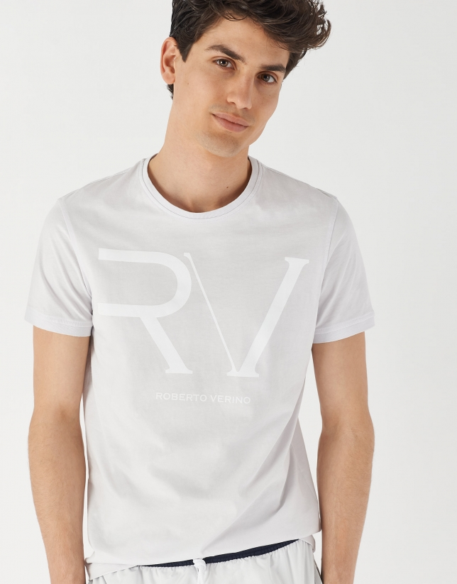 Gray cotton top with white RV logo