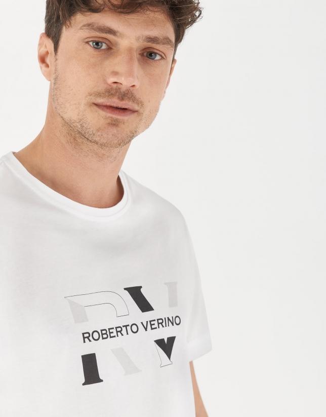Camiseta algodón blanco logo doble gris