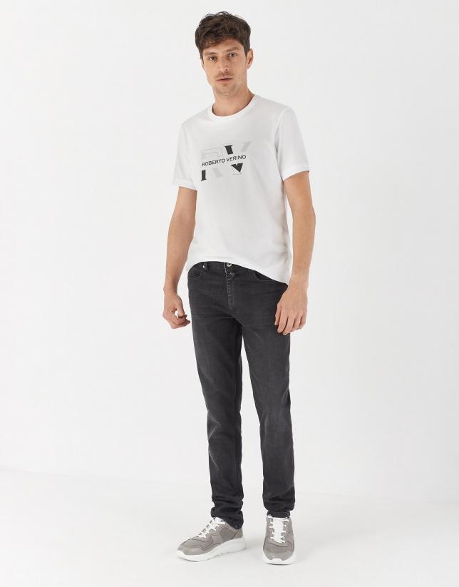 White cotton top with two gray logos