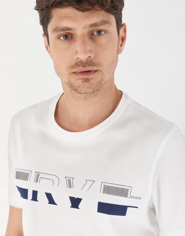 Camiseta algodón blanco logo gris