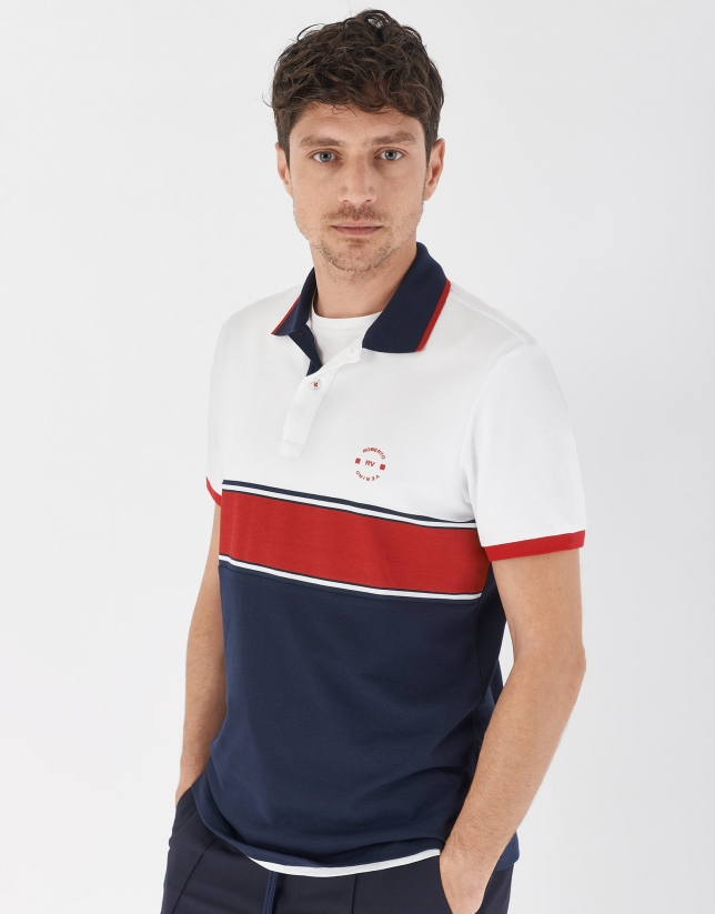Navy blue, red and white color block polo shirt