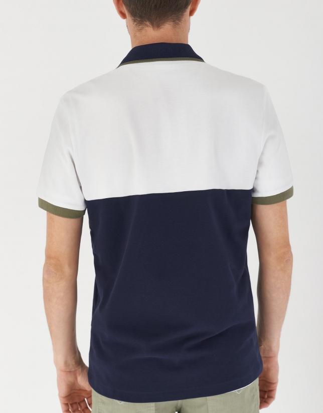 Navy blue, khaki and white color block polo shirt