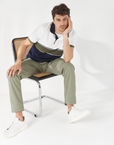 Navy blue, khaki and white color block polo shirt