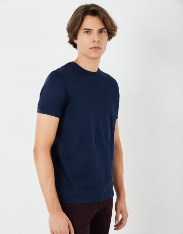 Navy blue double mercerized cotton top